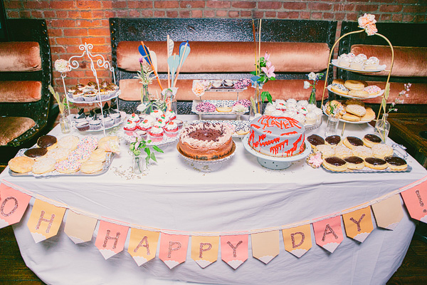dessert table with grooms cake
