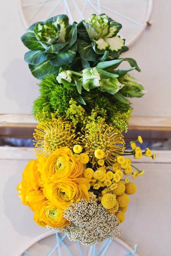 green and yellow ombre centerpiece
