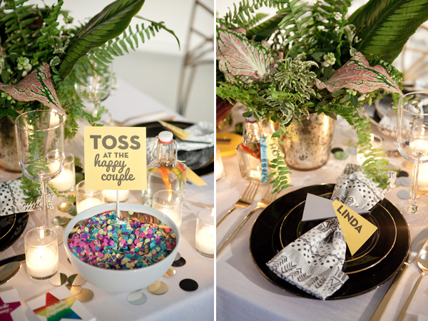 confetti toss & geometric table setting