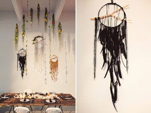 rustic table display with dream catchers