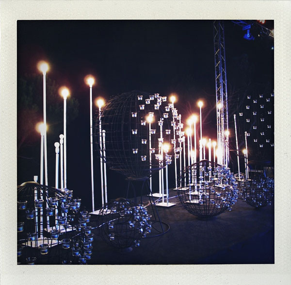 candle decor at outdoor wedding reception