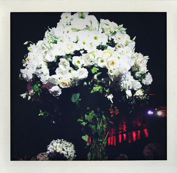 white and green tall centerpiece