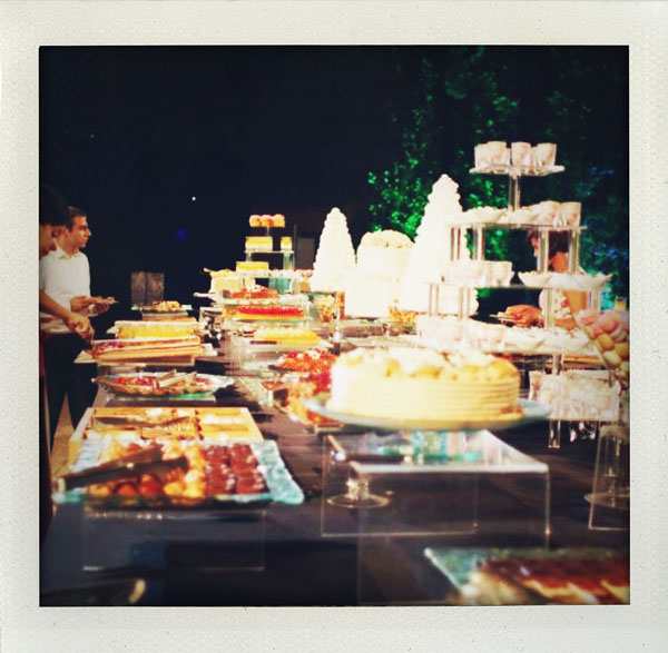 dessert buffet at outdoor wedding reception
