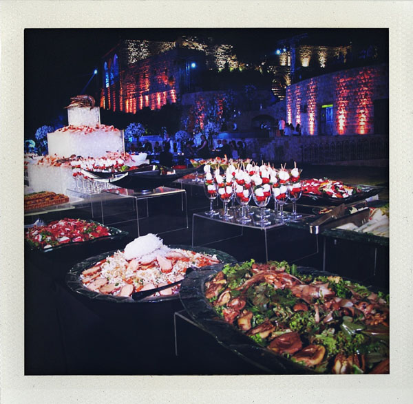 buffet at outdoor beirut wedding reception