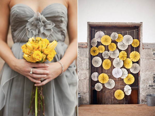 grey and yellow bridesmaids dress & backdrop
