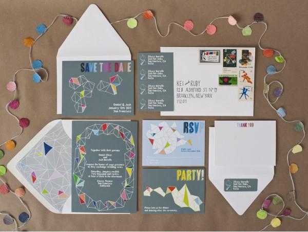 modern facet wedding invitations