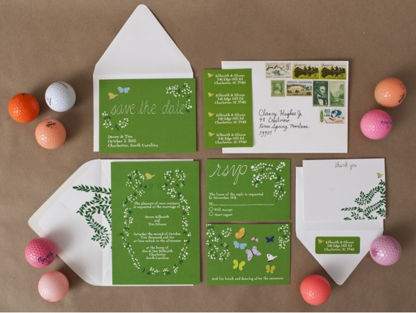 modern green floral wedding invitations