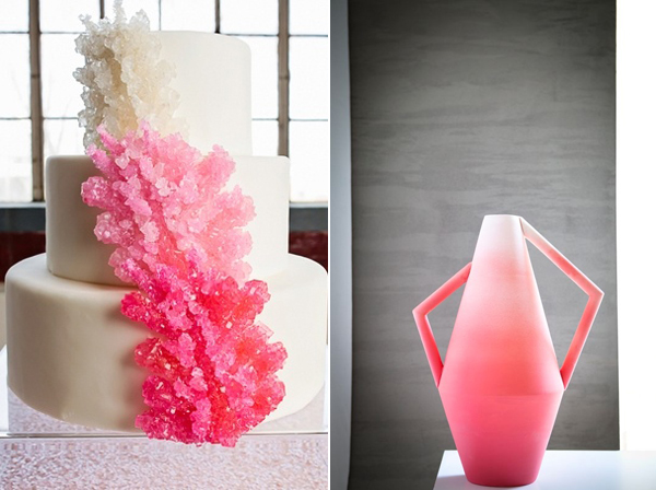 pink ombre cake and vase
