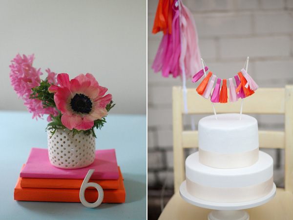 pink centerpiece & cake topper