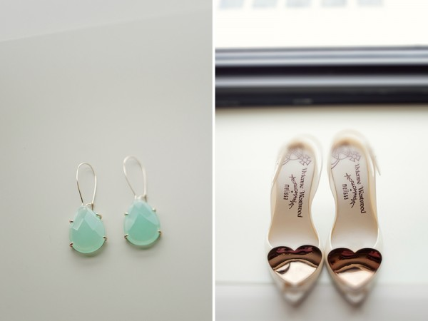 mint earrings & heart shoes