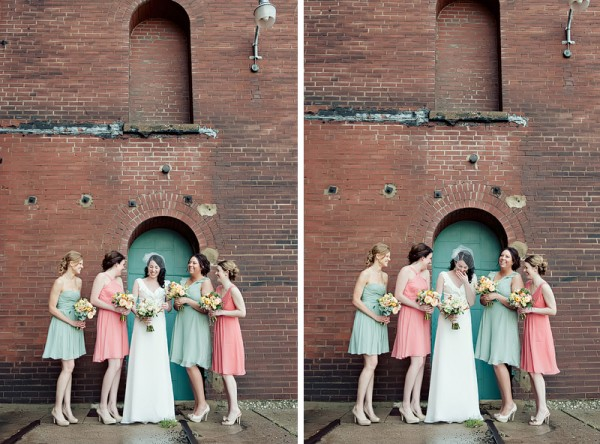 bride with pastel bridesmaids