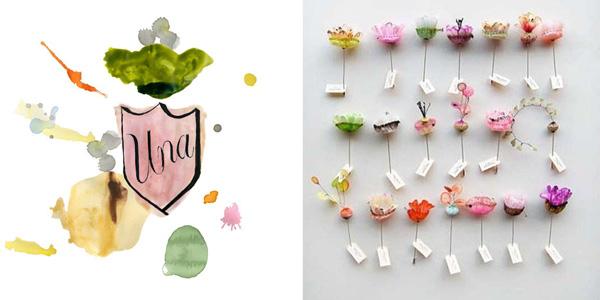 watercolor monogram & flowers