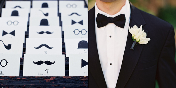 black bowtie and escort cards