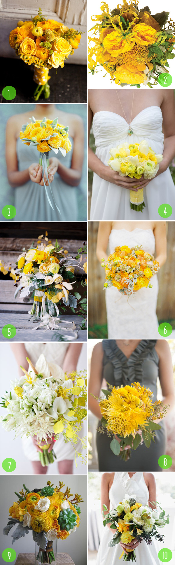 modern yellow bouquets