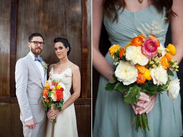 colorful bride and bridesmaids bouquets