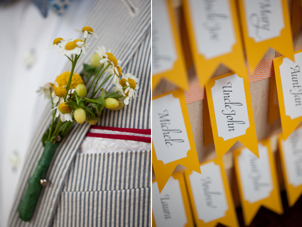 yellow boutonniere with seersucker suit and yellow flag seating chart