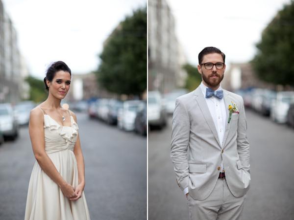 bride & groom in seersucker suit