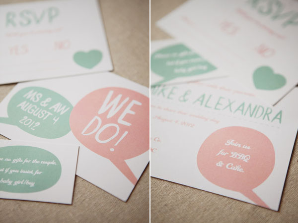 pink and green invitations