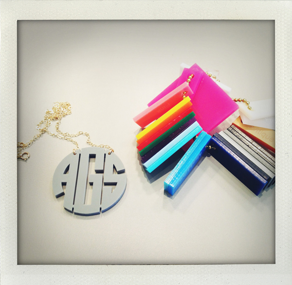 Monogrammed resin necklace