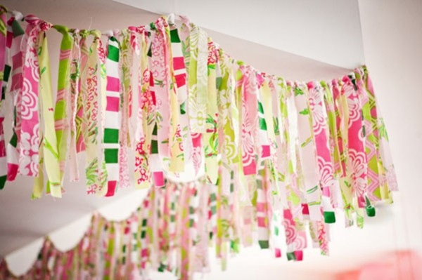 pink and green fabric garland