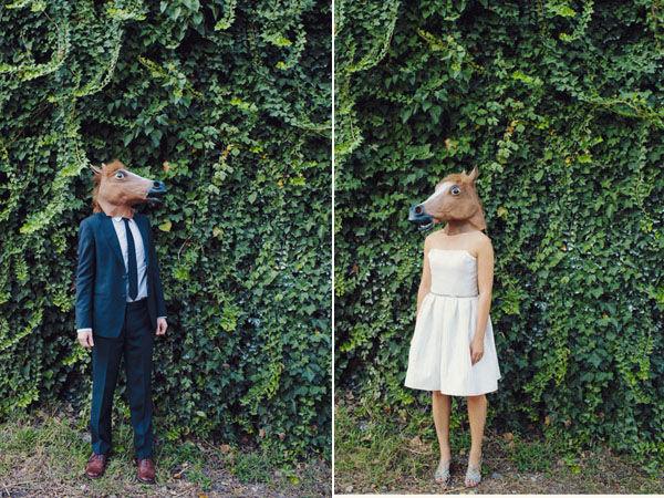 bride and groom wearing horse masks