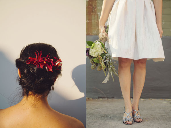 brides hair and bouquet