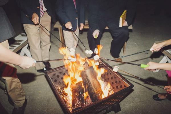 outdoor smores reception bonfire