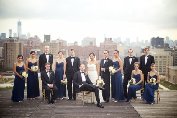 bridal party in navy on rooftop