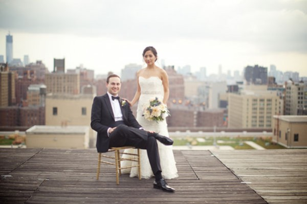 bride and groom rooftop portrait