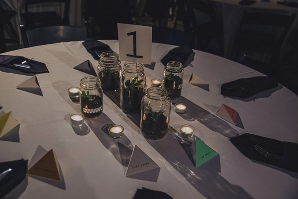 terrarium centerpiece with triangle favor boxes