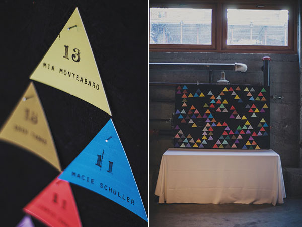 colorful triangle escort card display