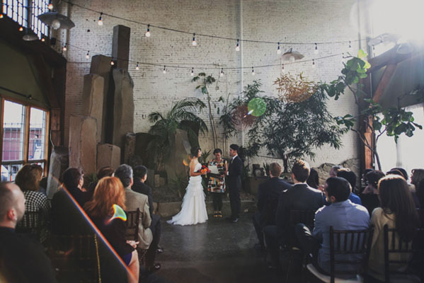 urban loft wedding ceremony