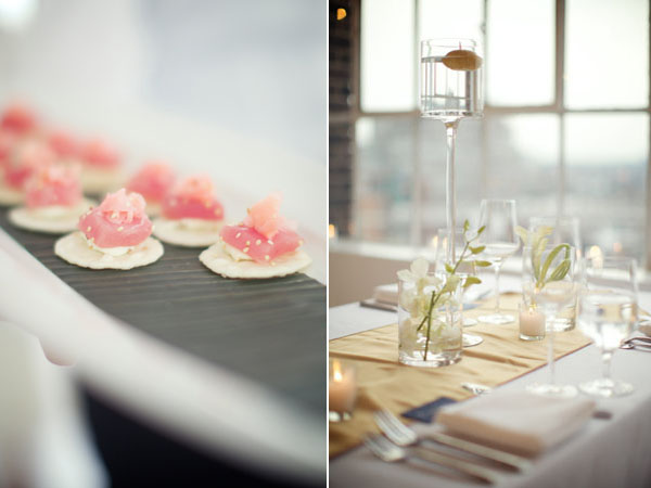 centerpiece and pink hors d'oeuvres