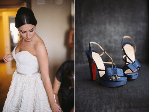 embossed wedding dress and navy shoes