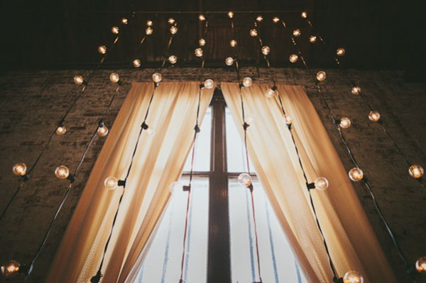 string lights at ceremony