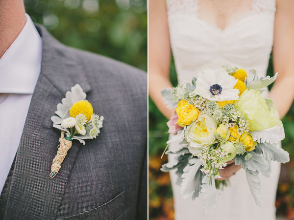 yellow and green bouquet and boutonniere