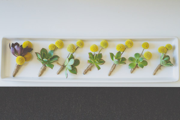 green & yellow boutonnieres