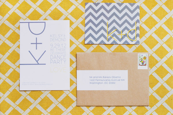 grey & white chevron invitations