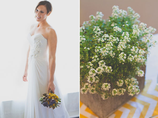 wedding dress & green centerpiece