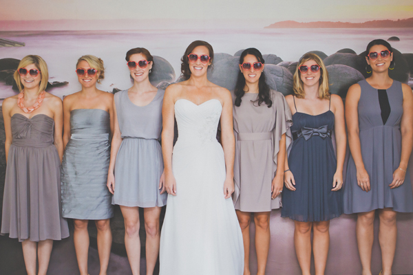 bride and bridesmaids in grey