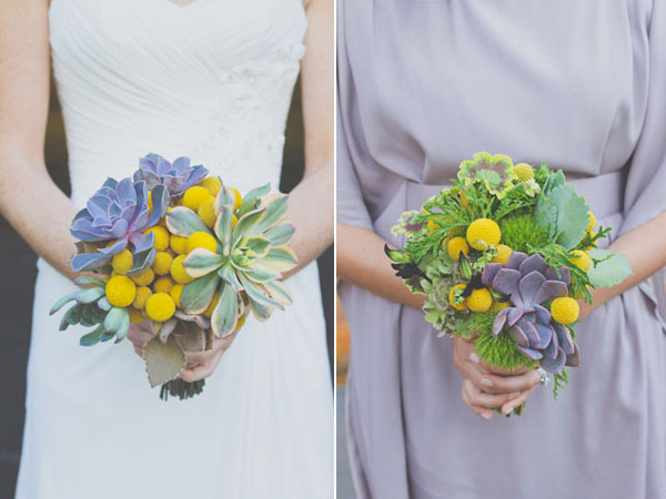 purple green and yellow bouquets
