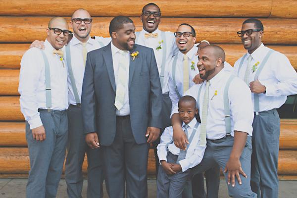 groom and groomsmen in grey