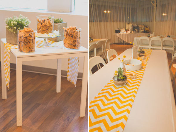 yellow chevron table decor