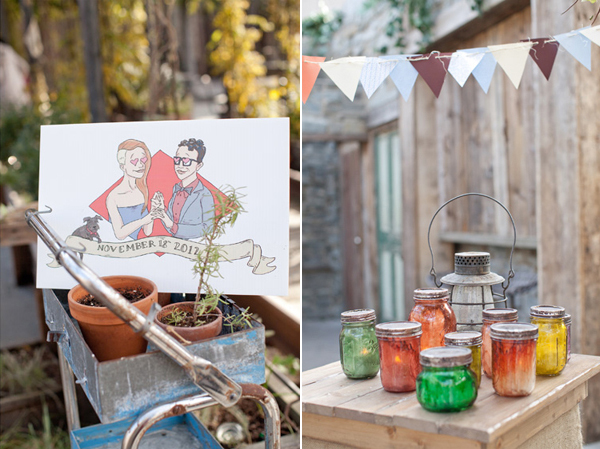 cartoon invitation & outdoor ceremony decor