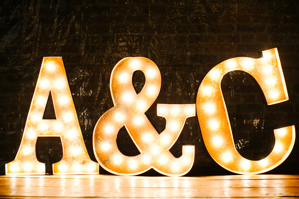 couples initials in lights