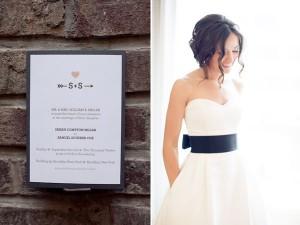 black and white wedding dress and invitation