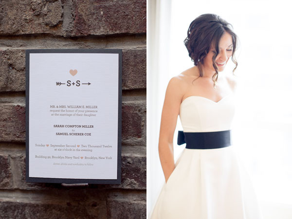 black and white wedding dress and invitation
