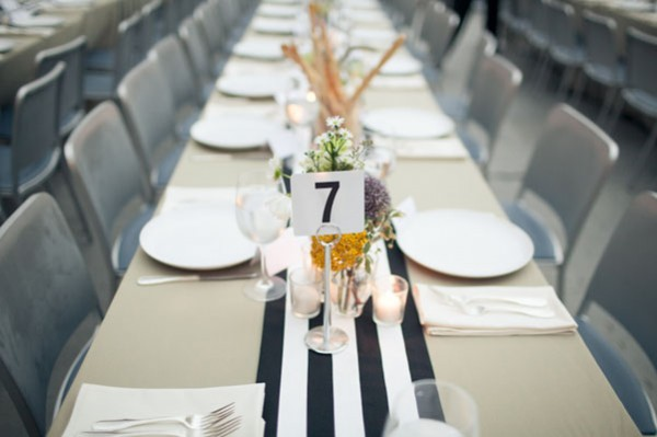 black and white striped runner
