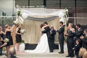 striped ceremony backdrop