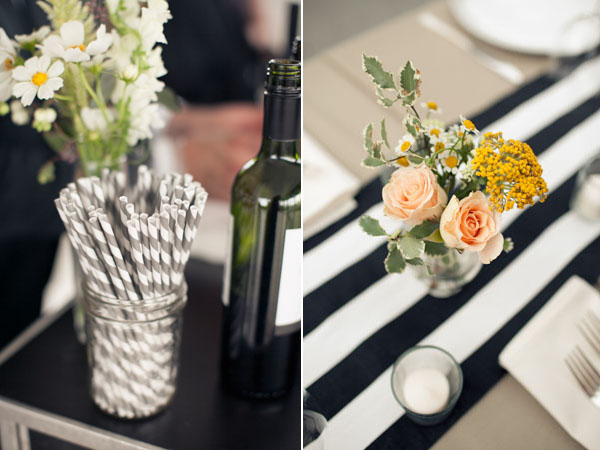 centerpiece on black and white striped runner